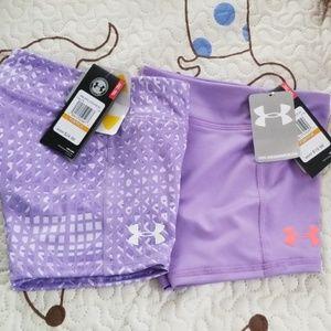2 pr NWT UA sz YS purple heatgear shorts